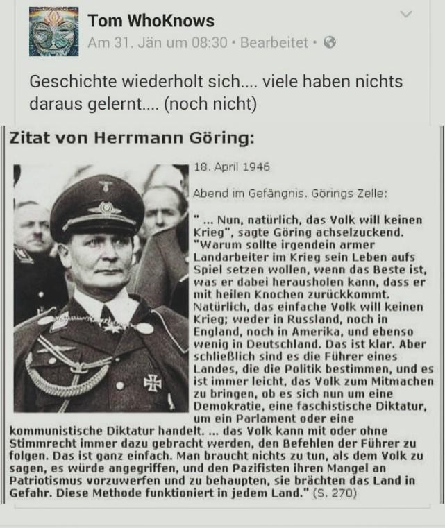 Göring über Krieg